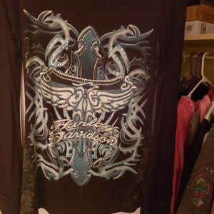 Harley Davidson medium sequined dress shirt